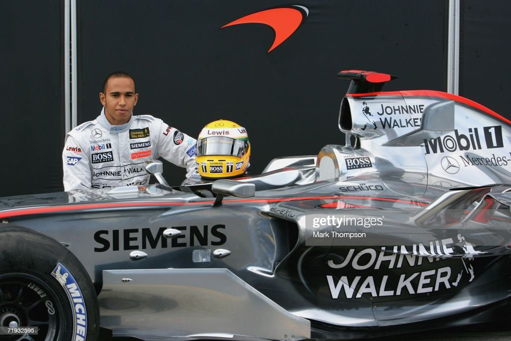 <a gi-track='captionPersonalityLinkClicked' href=/galleries/search?phrase=Lewis+Hamilton+-+Racecar+Driver&family=editorial&specificpeople=586983 ng-click='$event.stopPropagation()'>Lewis Hamilton</a>, 21, of Great Britain poses beside the McClaren MP421 car as he prepares to drive it for the first time, during Formula one testing at Silverstone Circuit on September 19, 2006 at Silverstone, England.