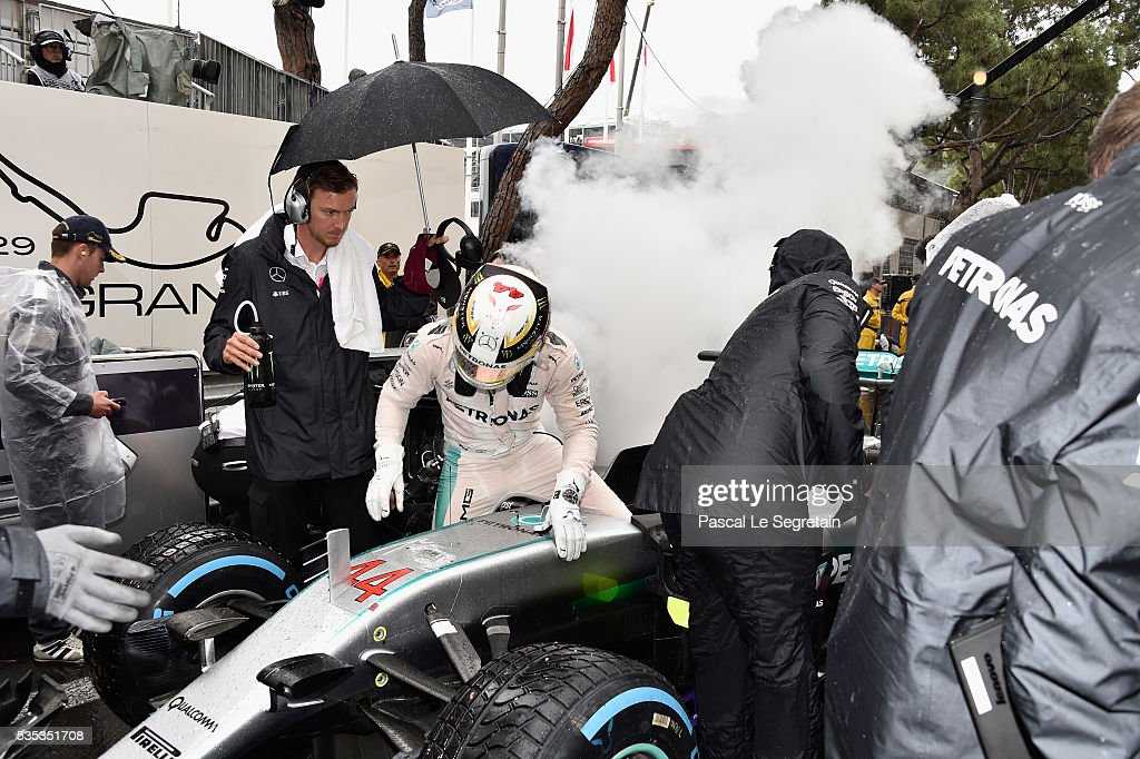 <a gi-track='captionPersonalityLinkClicked' href=/galleries/search?phrase=Lewis+Hamilton&family=editorial&specificpeople=586983 ng-click='$event.stopPropagation()'>Lewis Hamilton</a> of Great Britain steps out of his car during the Monaco Formula One Grand Prix at Circuit de Monaco on May 29, 2016 in Monte-Carlo, Monaco.