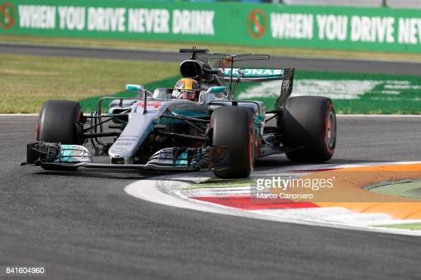 Lewis Hamilton of Mercedes AMG Petronas F1 Team on track during free practice of the Italian Formula One Grand Prix