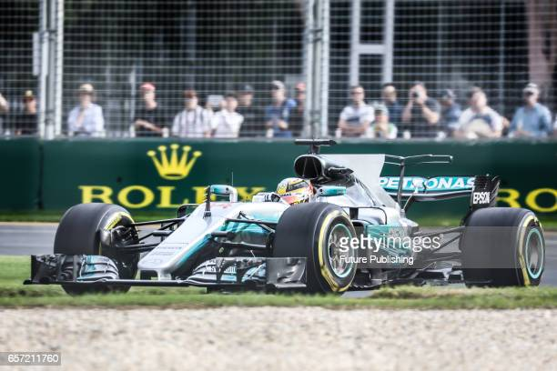 Lewis Hamilton of Mercedes AMG Petronas Motorsport competes in the 2nd F1 practice session at the 2017 Australian Formula 1 Grand Prix on March 24...