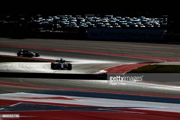 Lewis Hamilton of Mercedes and Great Britain and Valterri Bottas of Mercedes and Finland during qualifying for the United States Formula One Grand...