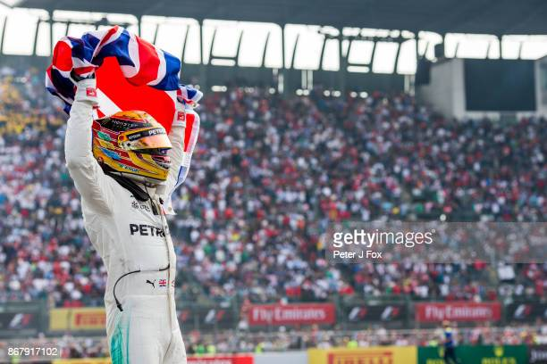Lewis Hamilton of Mercedes and Great Britain becomes the 2017 Formula One Drivers World Champion during the Formula One Grand Prix of Mexico at...