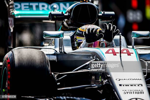 Lewis Hamilton of Mercedes and Great Britain cools his hands during practice for the Formula One Grand Prix of Hungary at Hungaroring on July 22 2016...
