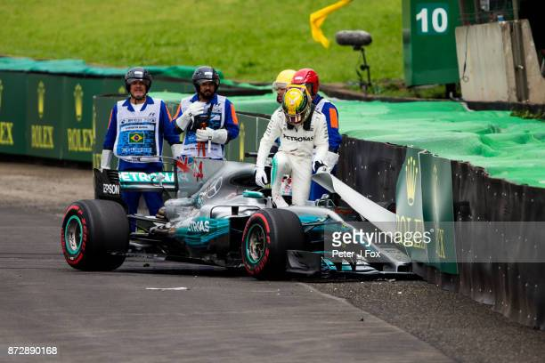 Lewis Hamilton of Mercedes and Great Britain crashes during qualifying for the Formula One Grand Prix of Brazil at Autodromo Jose Carlos Pace on...