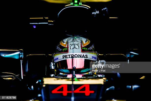 Lewis Hamilton of Mercedes and Great Britain during day one of F1 winter testing at Circuit de Catalunya on February 22 2016 in Montmelo Spain