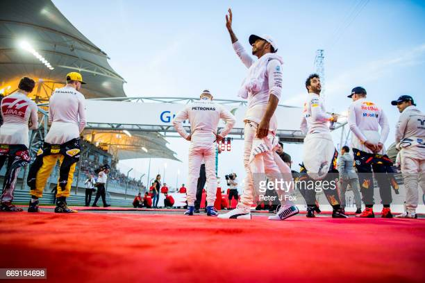 Lewis Hamilton of Mercedes and Great Britain during the Bahrain Formula One Grand Prix at Bahrain International Circuit on April 16 2017 in Bahrain...