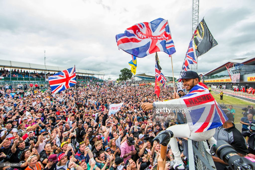 Lewis Hamilton of Mercedes and Great Britain during the Formula One Grand Prix of Great Britain at Silverstone on July 16, 2017 in Northampton, England.