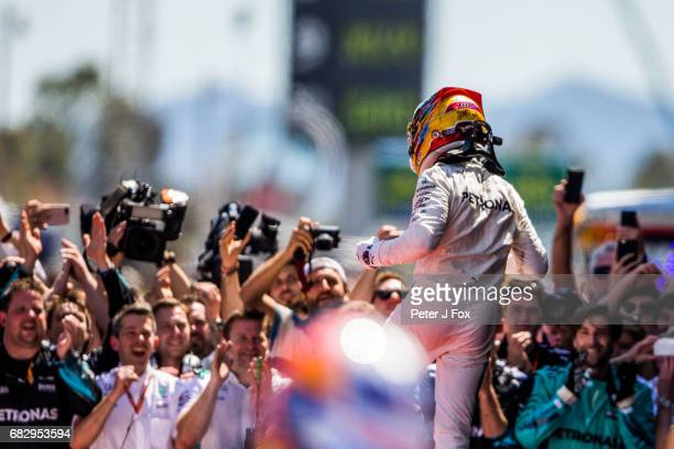 Lewis Hamilton of Mercedes and Great Britain during the Spanish Formula One Grand Prix at Circuit de Catalunya on May 14 2017 in Montmelo Spain