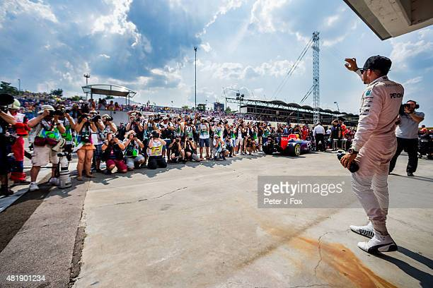 Lewis Hamilton of Mercedes and Great Britain gets Pole Position during qualifying for the Formula One Grand Prix of Hungary at Hungaroring on July 25...