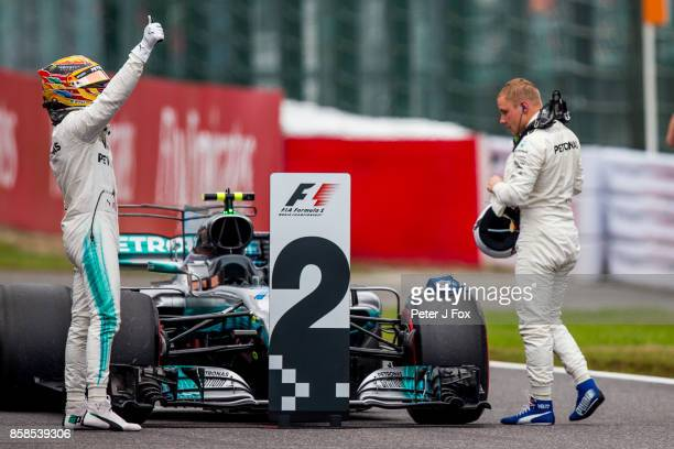 Lewis Hamilton of Mercedes and Great Britain gets Pole Position during the Formula One Grand Prix of Japan at Suzuka Circuit on October 8 2017 in...