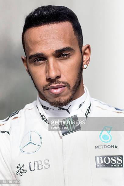 Lewis Hamilton of Mercedes and Great Britain poses during day three of F1 winter testing at Circuit de Catalunya on March 3 2016 in Montmelo Spain