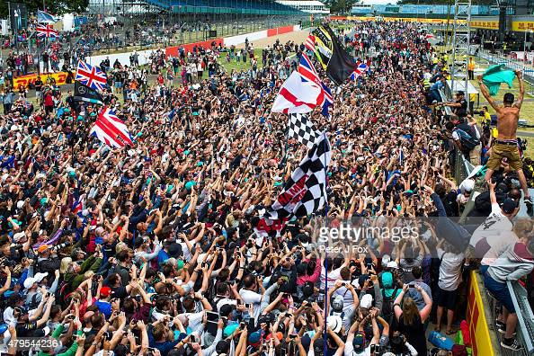 Lewis Hamilton of Mercedes and Great Britain wins the Formula One Grand Prix of Great Britain at Silverstone Circuit on July 5 2015 in Northampton...