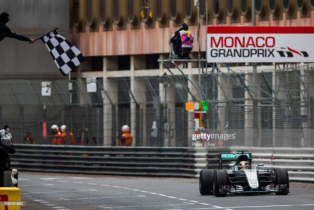 <a gi-track='captionPersonalityLinkClicked' href=/galleries/search?phrase=Lewis+Hamilton+-+Racecar+Driver&family=editorial&specificpeople=586983 ng-click='$event.stopPropagation()'>Lewis Hamilton</a> of Mercedes and Great Britain wins the Monaco Formula One Grand Prix at Circuit de Monaco on May 29, 2016 in Monte-Carlo, Monaco.