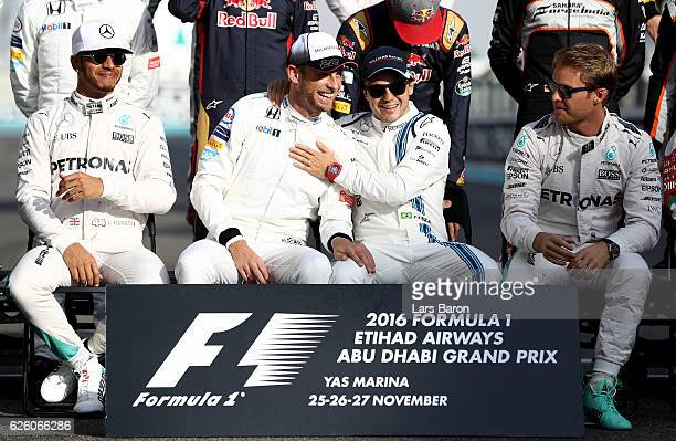 Lewis Hamilton of Mercedes GP Jenson Button of Great Britain and McLaren Honda Felipe Massa of Brazil and Williams and Nico Rosberg of Mercedes GP at...