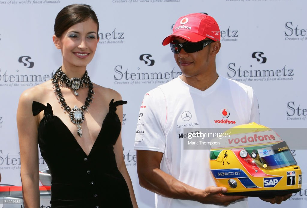 Lewis Hamilton of team McLaren Mercedes on a yacht in Monaco harbour attending the launch of the Steinmetz diamonds that will be on the side of both...