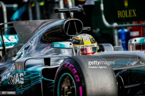 Lewis Hamilton of the United Kingdom driving for Mercedes AMG Petronas enters pit lane on Friday Free Practice during the 2017 Rolex Australian...