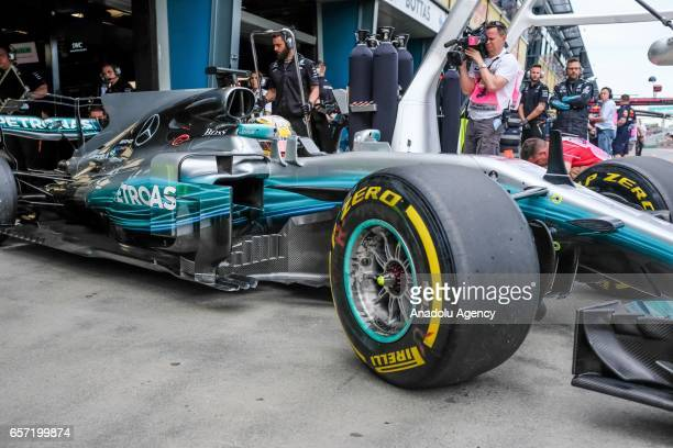 Lewis Hamilton of the United Kingdom driving for Mercedes AMG Petronas exits pit lane on Friday Free Practice during the 2017 Rolex Australian...
