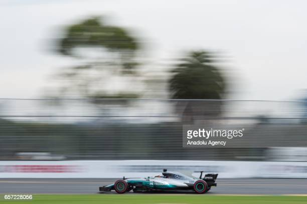 Lewis Hamilton of the United Kingdom driving for Mercedes AMG Petronas on Friday Free Practice during the 2017 Rolex Australian Formula 1 Grand Prix...