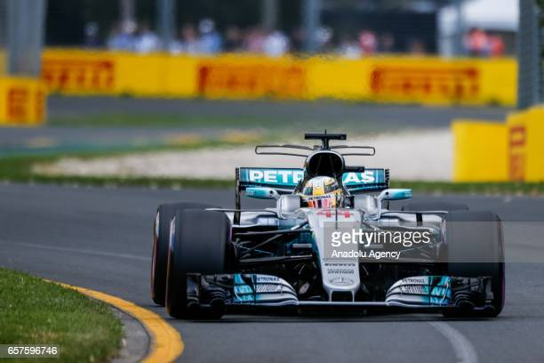 Lewis Hamilton of the United Kingdom driving for Mercedes AMG Petronas on Saturday Qualifying during the 2017 Rolex Australian Formula 1 Grand Prix...
