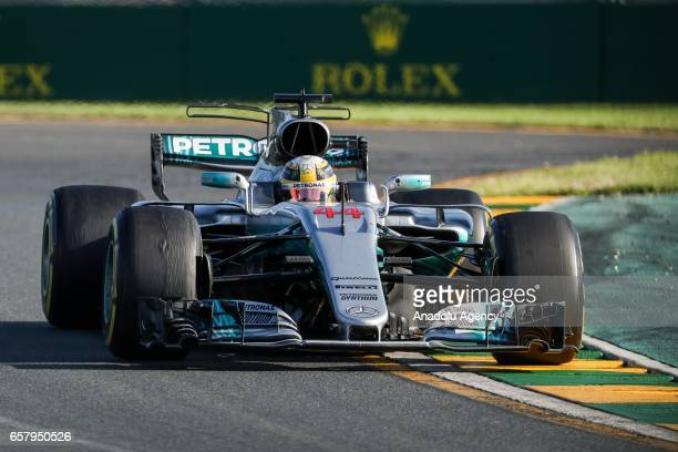 Lewis Hamilton of the United Kingdom driving for Mercedes AMG Petronas races during the 2017 Rolex Australian Formula 1 Grand Prix at Albert Park...