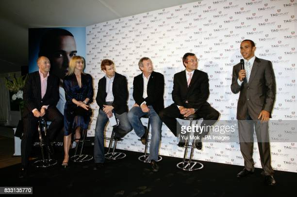 Lewis Hamilton on stage with TAG Heuer CEO Worldwide President JeanChristophe Babin and a celebrity panel of guests Tom Aikens GQ Editor Dylan Jones...