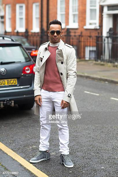 Lewis Hamilton outside JW Anderson during The London Collections Men SS16 at on June 14 2015 in London England