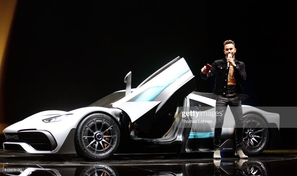 Lewis Hamilton presents the new concept car Mercedes AMG Project one at the 'Internationale Automobil-Ausstellung (IAA)' on September 12, 2017 in Frankfurt am Main, Germany.