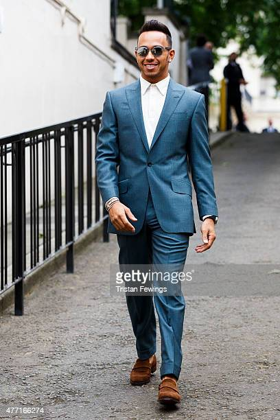 Lewis Hamilton seen outside the Richard James show during The London Collections Men SS16 at the ICA car park on June 14 2015 in London England