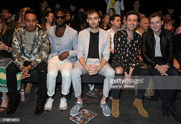 Lewis Hamilton Tinie Tempah Douglas Booth Nick Grimshaw and George Barnett attend the Topman Design show during London Collections Men SS16 at The...