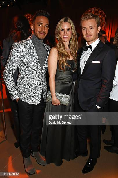 Lewis Hamilton Vivian Rosberg and Nico Rosberg attend the IWC Schaffhausen 'Decoding the Beauty of Time' Gala Dinner during the launch of the Da...