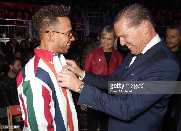 Lewis Hamilton Yolanda Hadid and Frank Cancelloni attend the Tommy Hilfiger TOMMYNOW Fall 2017 Show during London Fashion Week September 2017 at The...