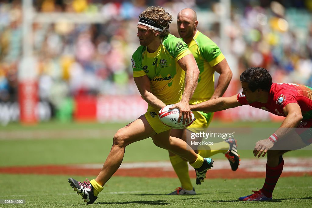 Lewis Holland of Australia runs the ball during the 20146 Sydney Sevens match between Australia and Portugal at Allianz Stadium on February 6, 2016 in Sydney, Australia.