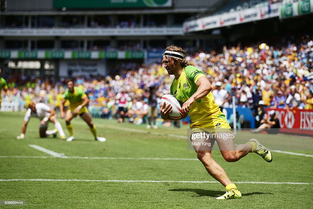 Lewis Holland of Australia scores a try during the 2016 Sydney Sevens Cup Quarter Final match between England and Australia at Allianz Stadium on February 7, 2016 in Sydney, Australia.