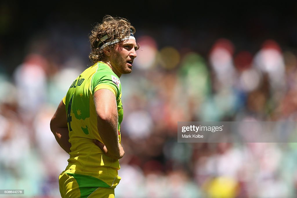 Lewis Holland of Australia watches on during the 20146 Sydney Sevens match between Australia and Portugal at Allianz Stadium on February 6, 2016 in Sydney, Australia.