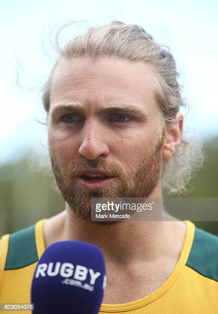 Lewis Holland speaks to the media during the Australian Sevens Rugby Jersey launch at the Sydney Academy of Sport on November 14 2016 in Sydney...