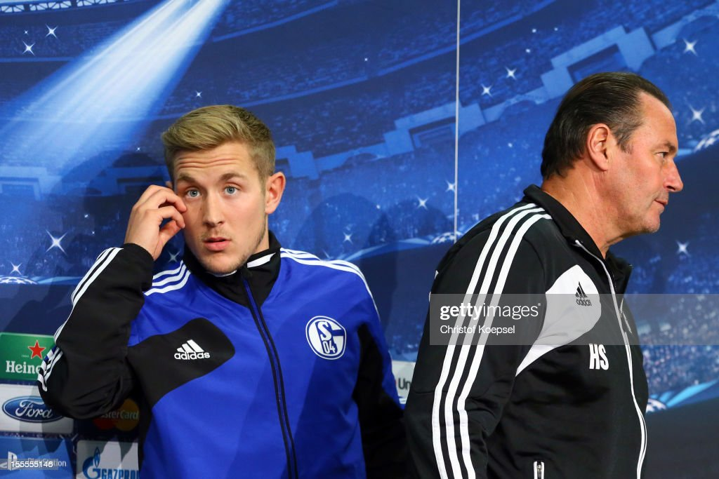 Lewis Holtby and head coach Huub Stevens of FC Schalke 04 attend the press conference at the Veltins Arena ahead of the UEFA Champions League group B match between FC Schalke 04 and FC Arsenal on November 6, 2012 in Gelsenkirchen, Germany.