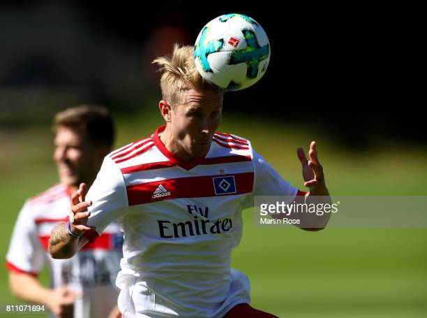 Lewis Holtby controls the ball during a training session of Hamburger SV at Volksparkstadion on July 9 2017 in Hamburg Germany
