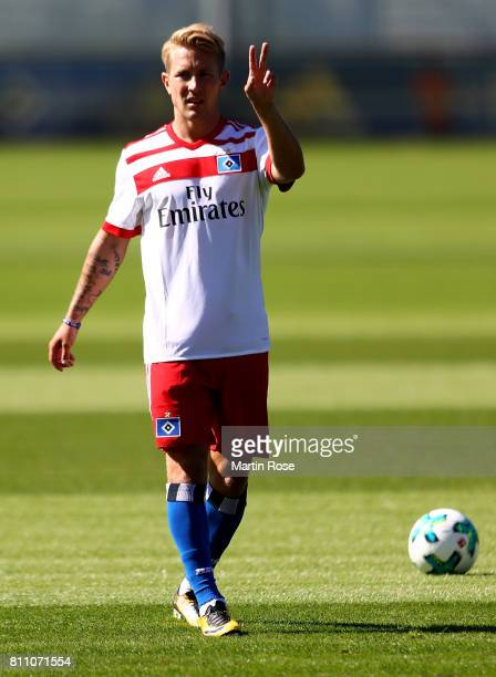 Lewis Holtby gestures during a training session of Hamburger SV at Volksparkstadion on July 9 2017 in Hamburg Germany