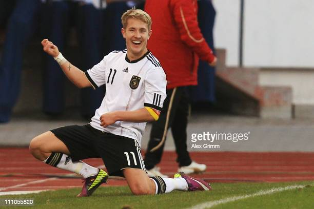 Lewis Holtby of Germany celebrates his team's second goal during the U21 international friendly match between Germany and Italy at Auestadium on...