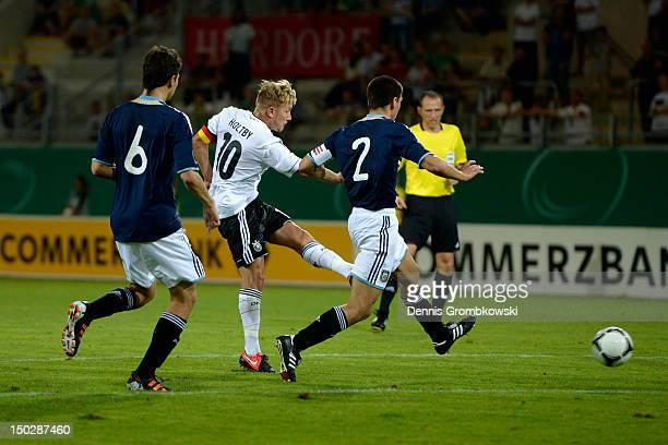 Lewis Holtby of Germany scores his team's fourth goal during the Under 21 international friendly match between Germany U21 and Argentina U21 at...