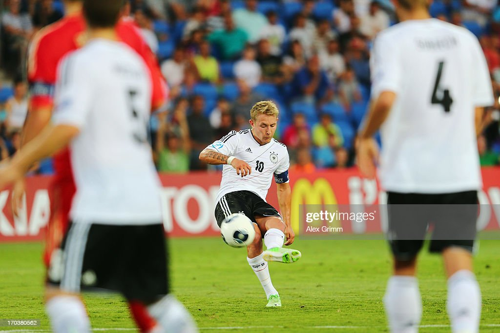 Lewis Holtby of Germany tries to score with a free-kick during the UEFA European U21 Championship Group B match between Russia and Germany at Netanya Stadium on June 12, 2013 in Netanya, Israel.