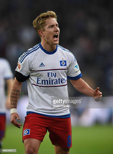 Lewis Holtby of Hamburg celebrates scoring the second goal during the Bundesliga match between Hamburger SV and Borussia Dortmund at Volksparkstadion...