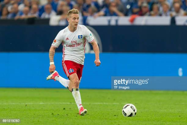 Lewis Holtby of Hamburg controls the ball during to the Bundesliga match between FC Schalke 04 and Hamburger SV at VeltinsArena on May 13 2017 in...