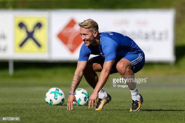Lewis Holtby of Hamburg laughs during the Training Camp of Hamburger SV on July 23 2017 in Laengenfeld Austria