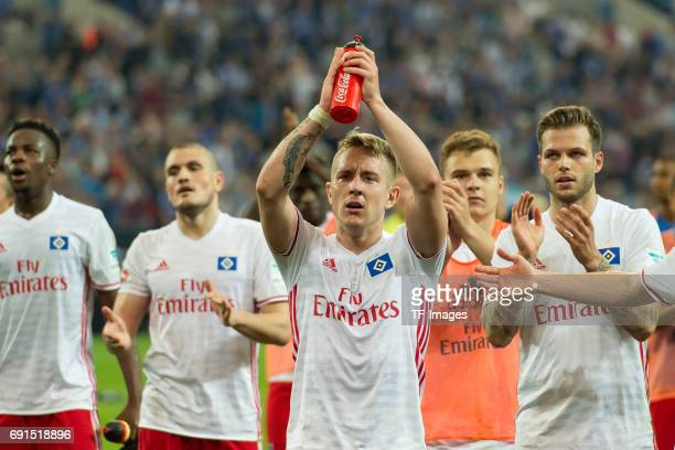 Lewis Holtby of Hamburg looks on during to the Bundesliga match between FC Schalke 04 and Hamburger SV at VeltinsArena on May 13 2017 in...