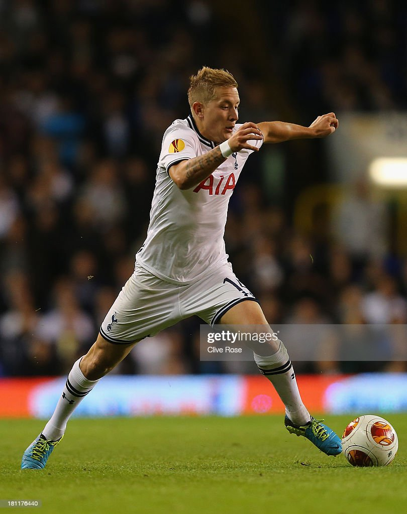 Lewis Holtby of Spurs on the ball during the UEFA Europa League Group K match between Tottenham Hotspur FC and Tromso IL at White Hart Lane on September 19, 2013 in London, England.