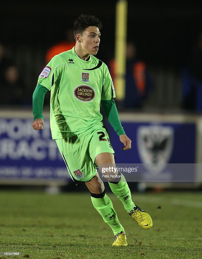 Lewis Hornby of Northampton Town in action during the npower League Two match between AFC Wimbledon and Northampton Town at The Cherry Red Records Stadium on February 19, 2013 in Kingston upon Thames, England.