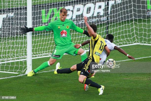 Lewis Italiano of the Phoenix defends his goal during the round eight ALeague match between the Wellington Phoenix and the Central Coast Mariners at...