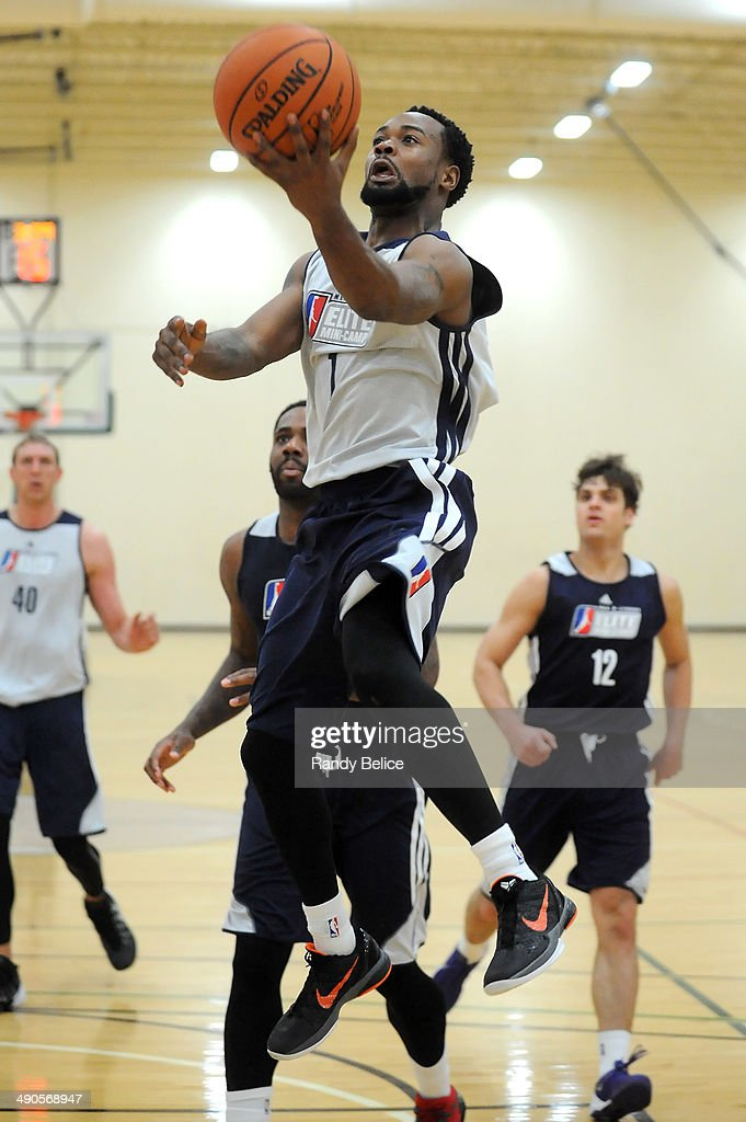 Lewis Jackson #1 of the Erie Bayhawks goes to the basket on day two of the 2014 NBA Development League Elite Mini Camp on May 13, 2014 at Quest Multisport in Chicago, Illinois.