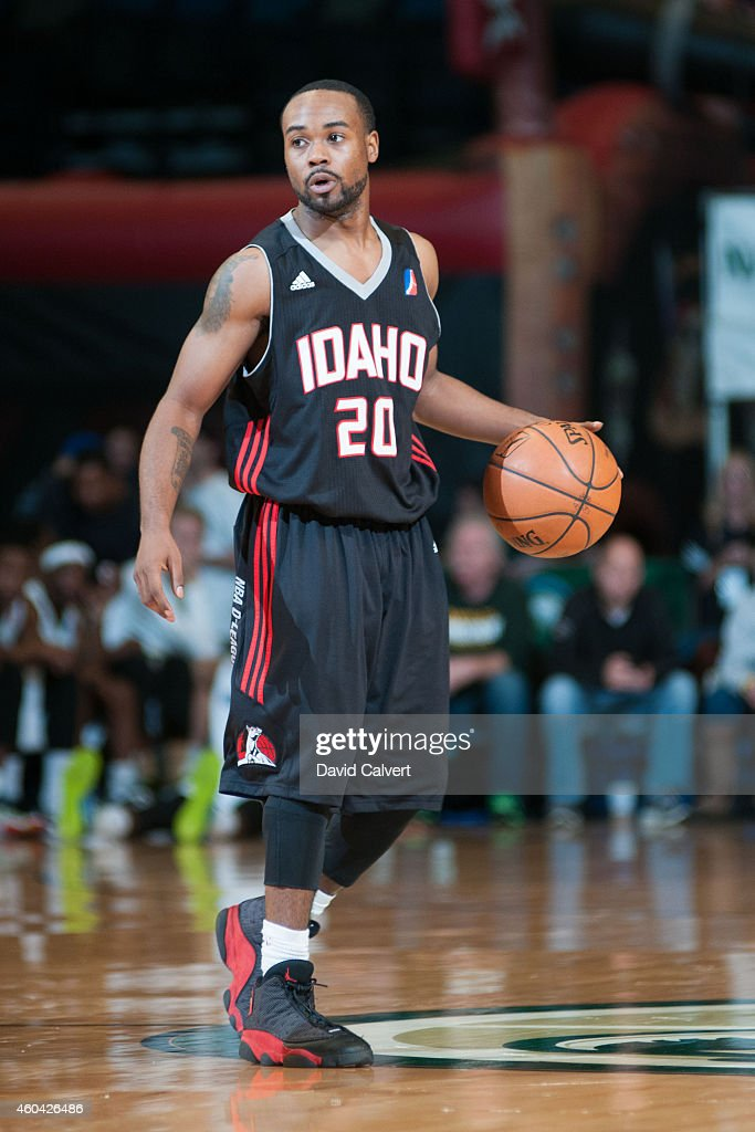 Lewis Jackson of the Idaho Stampede dribbles the basketball up the court against the Reno Bighorns during an NBA DLeague game on December 12 2014 at...